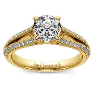 Split Shank Diamond Engagement Ring in Yellow Gold
