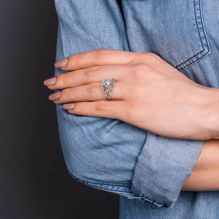 Split Shank Diamond Wrap Engagement Ring in Platinum | 06