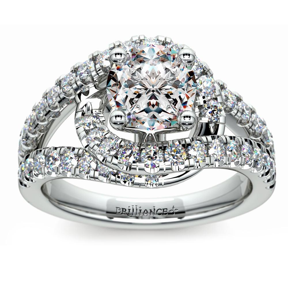 Split Shank Diamond Wrap Engagement Ring In Platinum