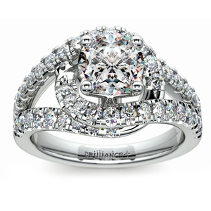 Split Shank Diamond Wrap Engagement Ring in White Gold