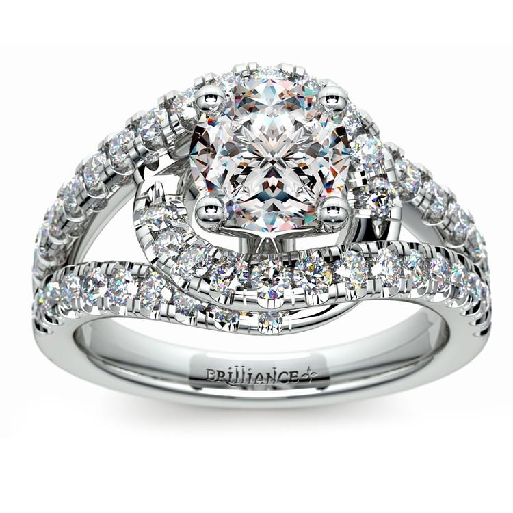 Split Shank Diamond Wrap Engagement Ring in White Gold | 01