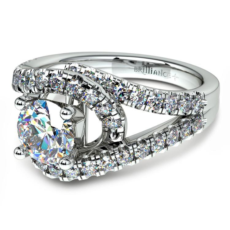 Split Shank Diamond Wrap Engagement Ring in White Gold | 04
