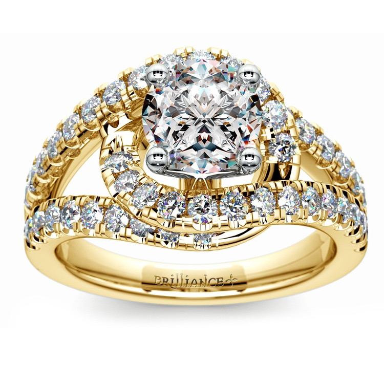 Split Shank Diamond Wrap Engagement Ring in Yellow Gold | 01