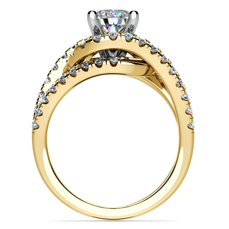 Split Shank Diamond Wrap Engagement Ring in Yellow Gold | 02