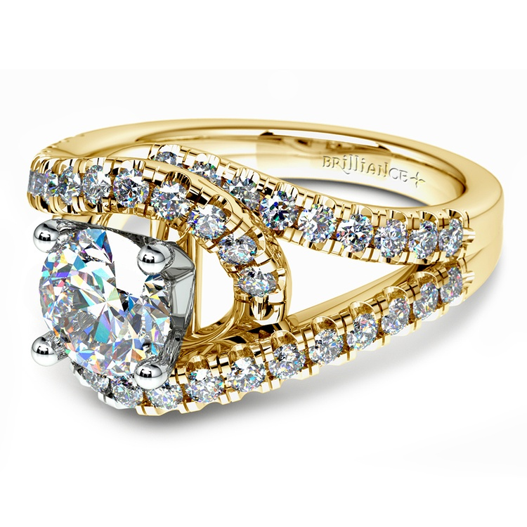 Split Shank Diamond Wrap Engagement Ring in Yellow Gold | 04