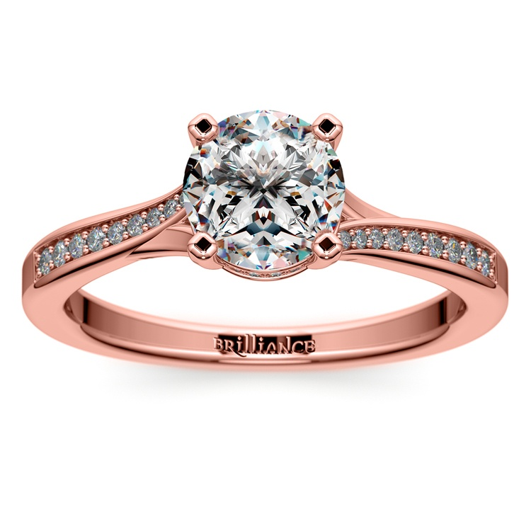 Split Shank Engagement Ring With Diamond Gallery In Rose Gold | 01