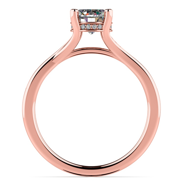 Split Shank Engagement Ring With Diamond Gallery In Rose Gold | 02