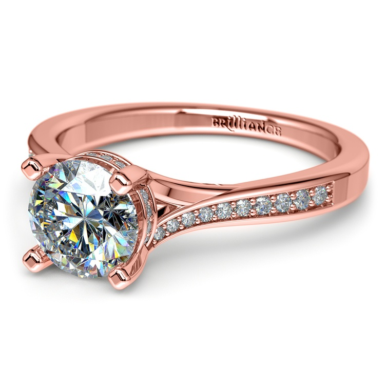 Split Shank Engagement Ring With Diamond Gallery In Rose Gold | 04