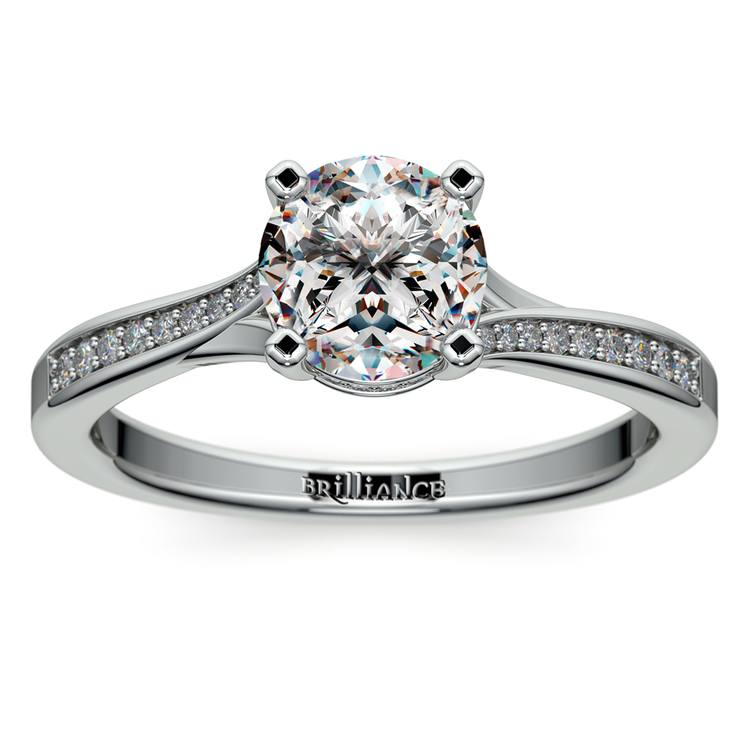 Split Shank Engagement Ring With Diamond Gallery in White Gold | 01