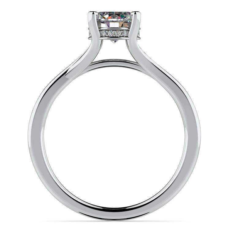 Split Shank Engagement Ring With Diamond Gallery in White Gold | 02