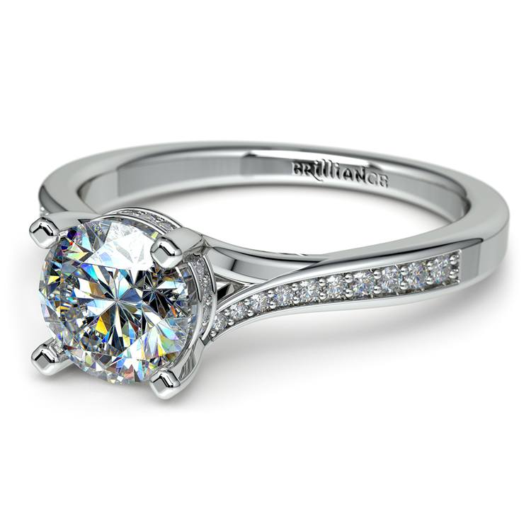Split Shank Engagement Ring With Diamond Gallery in White Gold | 04