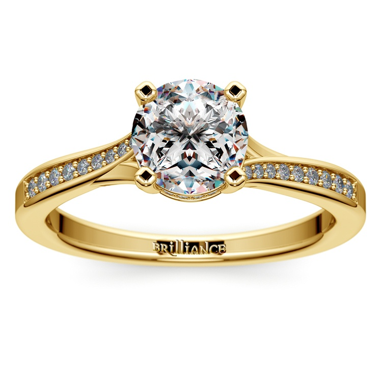Split Shank Engagement Ring With Diamond Gallery In Yellow Gold | 01