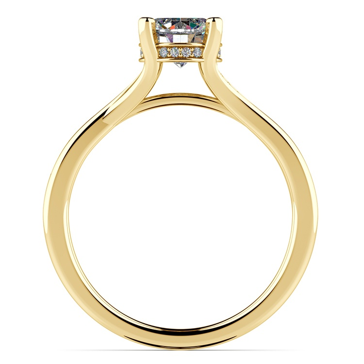 Split Shank Engagement Ring With Diamond Gallery In Yellow Gold | 02