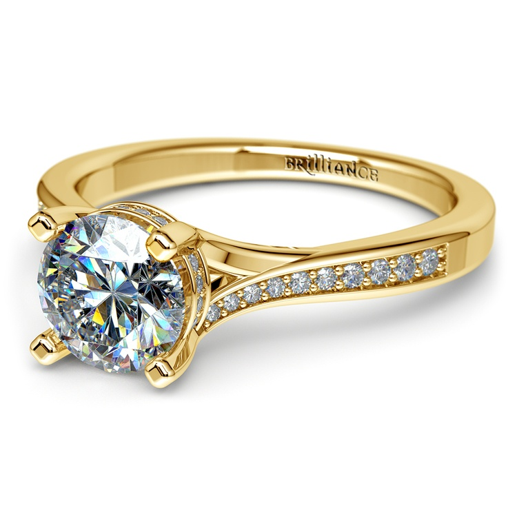 Split Shank Engagement Ring With Diamond Gallery In Yellow Gold | 04