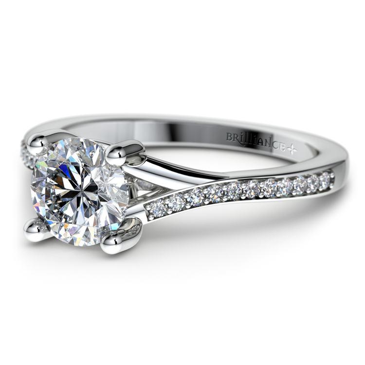 Split Shank Micropave Diamond Engagement Ring in Palladium | 04
