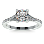 Split Shank Micropave Diamond Engagement Ring in Platinum | Thumbnail 01