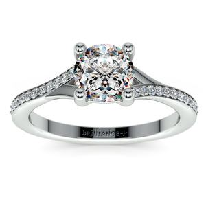 Split Shank Micropave Diamond Engagement Ring in Platinum