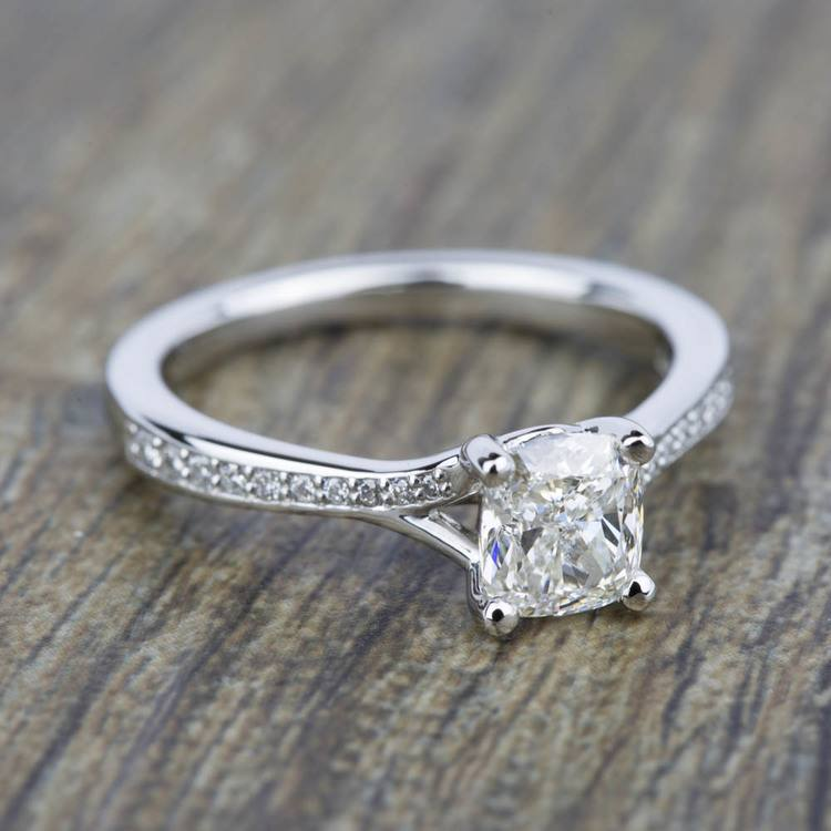 Split Shank Micropave Diamond Engagement Ring in Platinum | 05