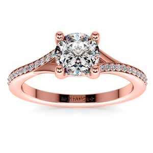Split Shank Micropave Diamond Engagement Ring in Rose Gold