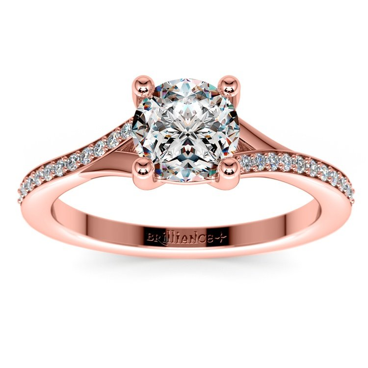 Split Shank Micropave Diamond Engagement Ring in Rose Gold | 01