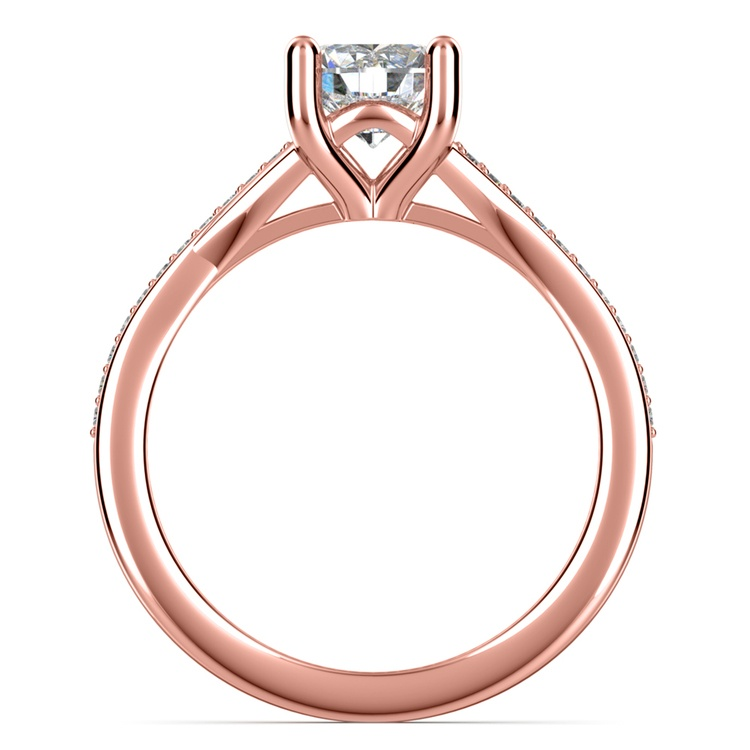 Split Shank Micropave Diamond Engagement Ring in Rose Gold | 02