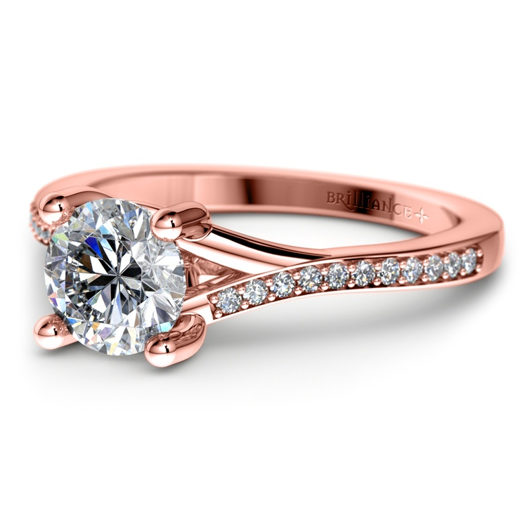 Split Shank Micropave Diamond Engagement Ring in Rose Gold | 04