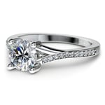 Split Shank Micropave Diamond Engagement Ring in White Gold | Thumbnail 04