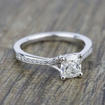 Split Shank Micropave Diamond Engagement Ring in White Gold | Thumbnail 05