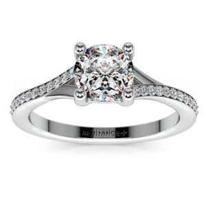 Split Shank Micropave Diamond Engagement Ring in White Gold