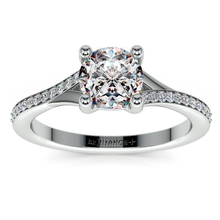 Split Shank Micropave Diamond Engagement Ring in White Gold | 01