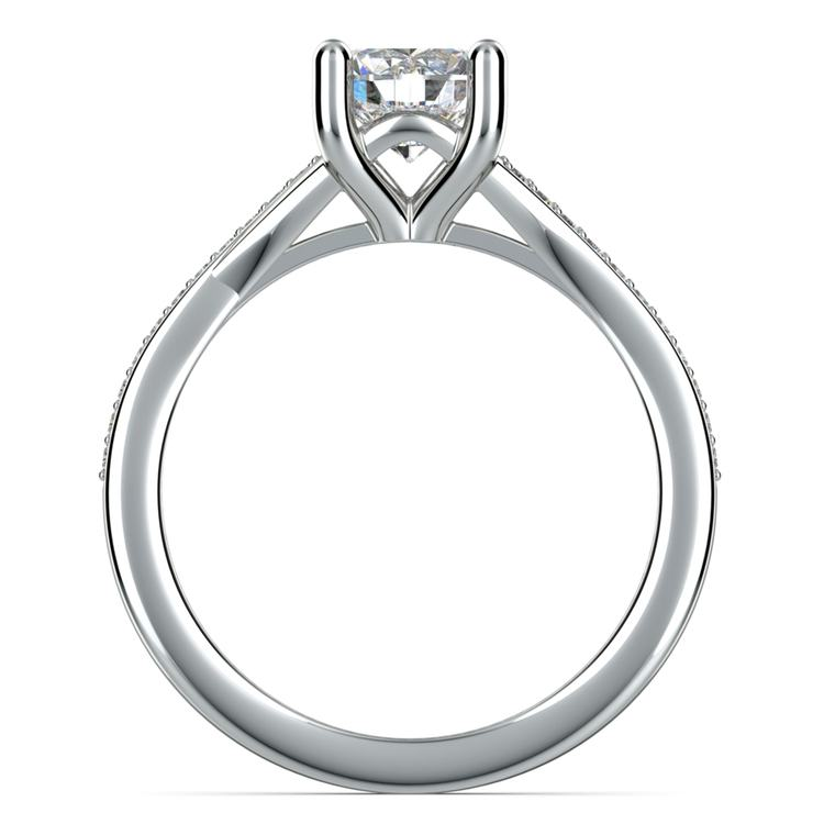 Split Shank Micropave Diamond Engagement Ring in White Gold | 02