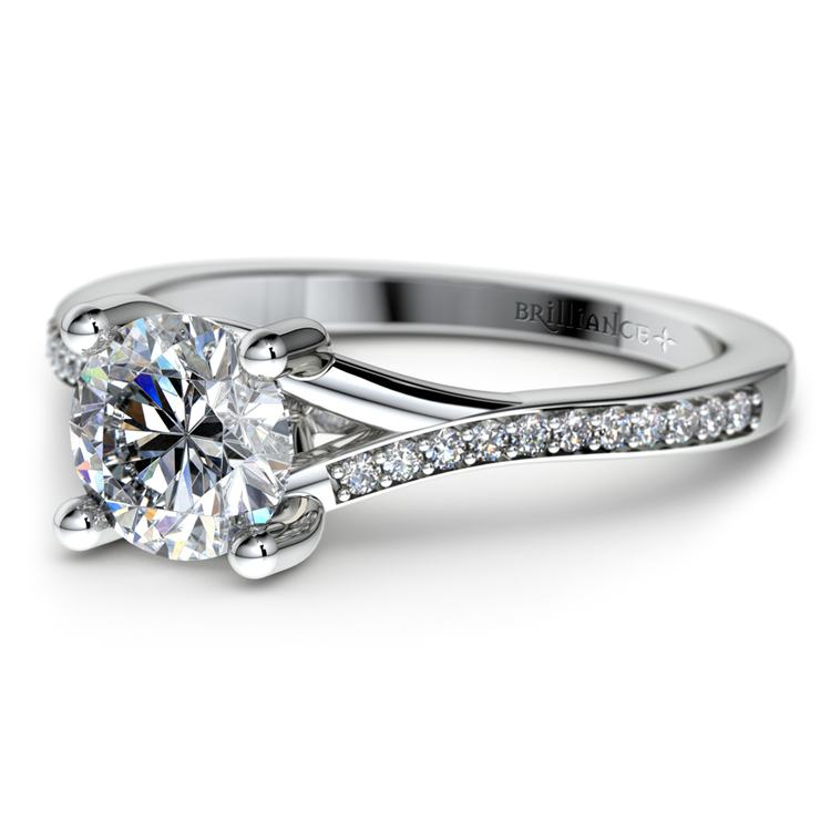 Split Shank Micropave Diamond Engagement Ring in White Gold | 04