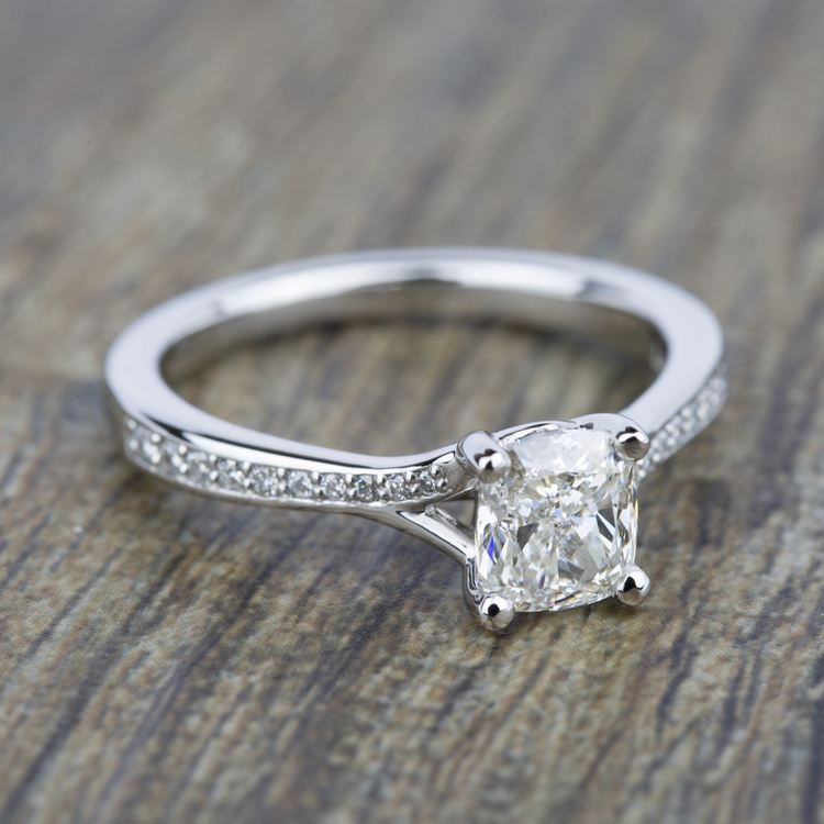 Split Shank Micropave Diamond Engagement Ring in White Gold | 05