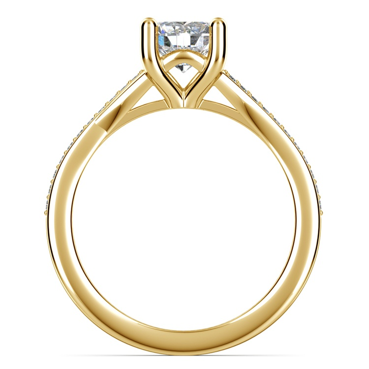 Split Shank Micropave Diamond Engagement Ring in Yellow Gold | 02