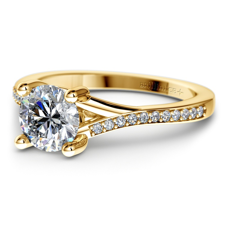 Split Shank Micropave Diamond Engagement Ring in Yellow Gold | 04