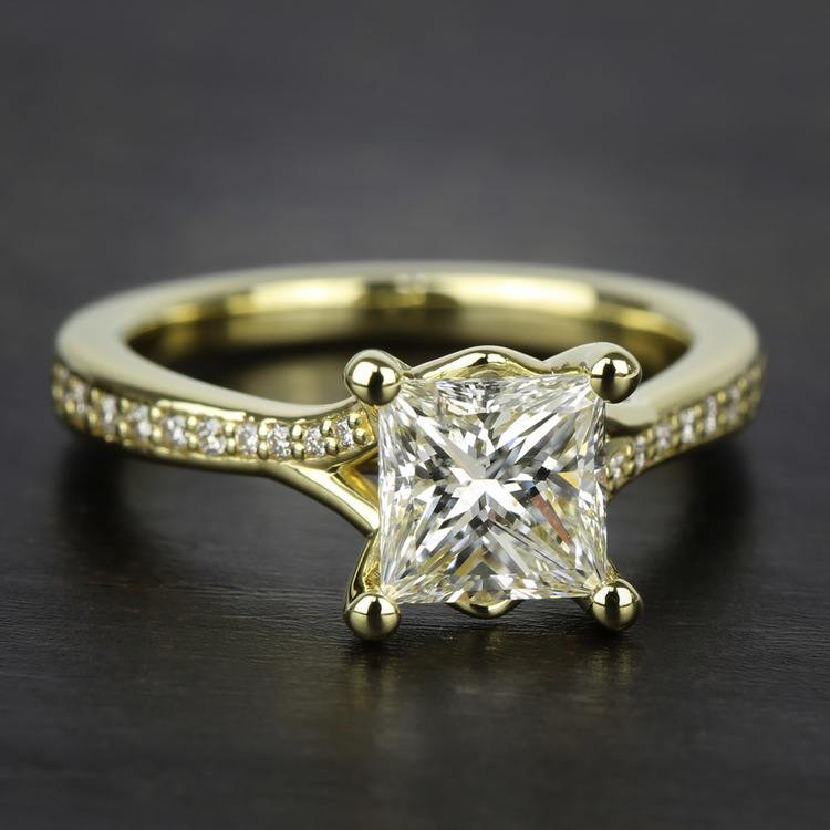 Split Shank Micropave Diamond Engagement Ring in Yellow Gold | 05