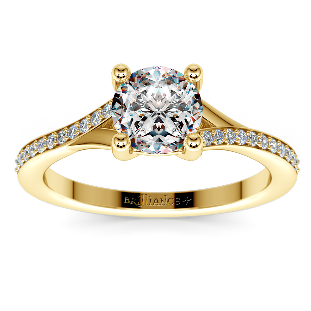 split shank micropave engagement ring in yellow gold