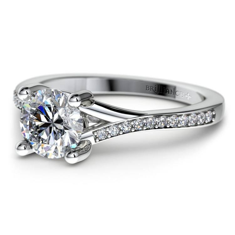 1 Carat Split Shank Pave Diamond Engagement Ring | 01