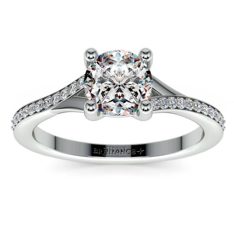 1 Carat Split Shank Pave Diamond Engagement Ring | 02