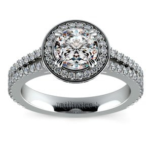 Split Shank Pave Halo Diamond Engagement Ring in Platinum