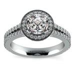 Split Shank Pave Halo Diamond Engagement Ring in White Gold | Thumbnail 01