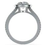 Split Shank Pave Halo Diamond Engagement Ring in White Gold | Thumbnail 02
