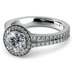 Split Shank Pave Halo Diamond Engagement Ring in White Gold | Thumbnail 04