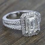 Split Shank Pave Halo Diamond Engagement Ring in White Gold | Thumbnail 05