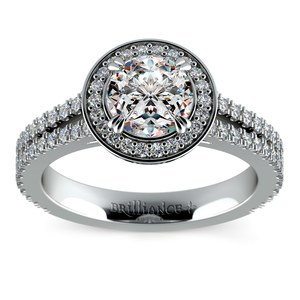 Split Shank Pave Halo Diamond Engagement Ring in White Gold
