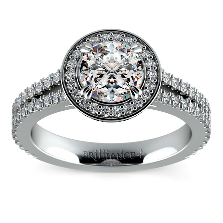 Split Shank Pave Halo Diamond Engagement Ring in White Gold | 01