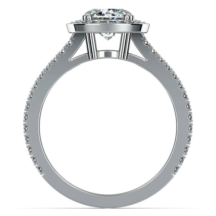 Split Shank Pave Halo Diamond Engagement Ring in White Gold | 02