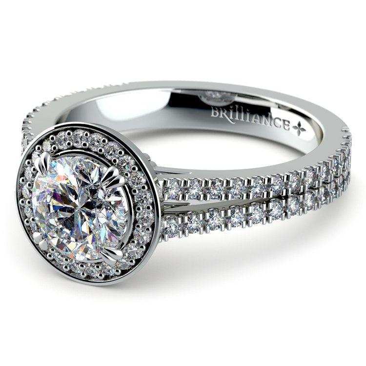 Split Shank Pave Halo Diamond Engagement Ring in White Gold | 04