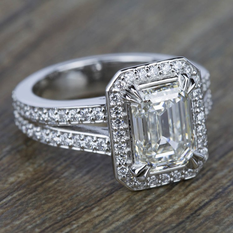 Split Shank Pave Halo Diamond Engagement Ring in White Gold | 05