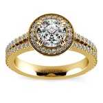 Split Shank Pave Halo Diamond Engagement Ring in Yellow Gold | Thumbnail 01
